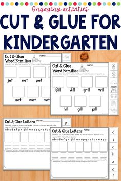 Preschool and Kindergarten centers with scissors and glue are a great idea! Include these in your regular rotation for easy organization at the beginning of the year or throughout your school year. Perfect for work at home too! This unit includes ideas for work stations for your literacy block or throughout your day. Easy setup and lots of options!