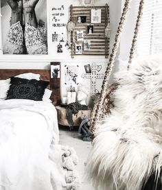 White, boho, scandi bedroom decor...