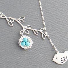 Sterling Silver Bird Nest Lariat Necklace