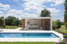 Adembenemend mooie realisatie met zwembad, tuin en poolhouse badend in 'Ibiza sfeer' ‹ De Mooiste Zwembaden Modern Pool House, Modern Pools, Miami Houses, Pool Houses, Tiny Houses, Outdoor Pool, Outdoor Decor, Pool Cabana, Swimming Pools Backyard