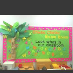 Chicka Chicka Boom Boom Look who's in our Room list all the kids name thru the tree in bright letters idea $ tree letters