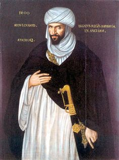 Abd el-Ouahed ben Messaoud ben Mohammed Anoun, Moorish ambassador of the Barbary States to the Court of Queen Elizabeth I. in 1600. Trade and diplomatic relations developed between England and the Barbary states during the rule of Elizabeth.