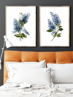 Set of 2 Blue Lilac prints Blue Plant art Blue Flower by LadyWatercolor | Etsy #lilacs #blue #watercolor #art #picture #poster #flowers #prints #desing #leaves #floral #set #minimalist #plant #paint