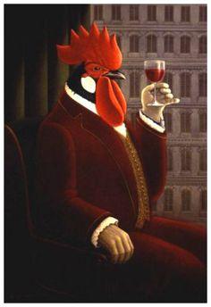✯ Coq au vin :: Artist George Underwood ✯ by carter flynn Rooster Art, Chicken Art, Chickens And Roosters, Wine Art, Galo, In Vino Veritas, Animal Heads, Art Studies, Beautiful Paintings