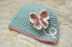 Crochet Baby Girl Hat Embroidery and by LittleBudsCrochet on Etsy