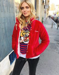 c0a71803ee4 Spott - Chiara Ferragni wears a babe red velvet puff jacket by The Blonde  Salad and a striped wool knitted top by Gucci