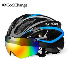 CoolChange Bicycle Helmet EPS Insect Net Road MTB Bike Windproof Lenses Integrally-molded Helmet Cycling Casco Ciclismo is really affordable gadgets with Road Cycling, Cycling Bikes, Road Bike, Helmet Visor, Safety Helmet, Cycling Helmet, Bicycle Helmet, Bicycle Safety, Mountain Bike Helmets