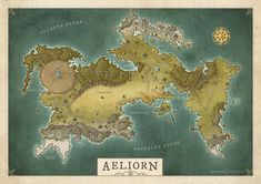 Behold the world of Aeliorn, a new world settled by explorers from the East. This map was made for an RPG group with a focus of exploring a new world. The original map was unlabeled, but I decided to throw some on there before I shared it with you. Dnd World Map, Fantasy World Map, Fantasy City, Cartographers Guild, World Map Design, Map Layout, Dungeon Maps, City Maps, Cartography