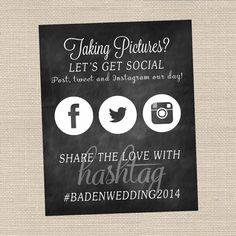 Social Media Hashtag Sign - Chalkboard Style - Printable PDF File