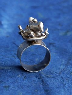 funky bird in a nest ring by AmandaBrittin on Etsy, $120.00