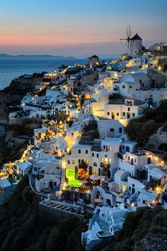 ~~Oia, Santorini @ Night ~ sundown, Greece by Maico Presente~~