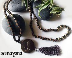 Buddhist Japa Mala Rosary with Yin Yang. 108 accounts. by Samayana, $26.50