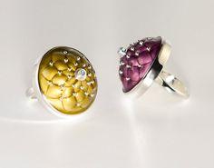 Enamel ring. Enamel Jewelry. Two rings with transparent by ENAMELI