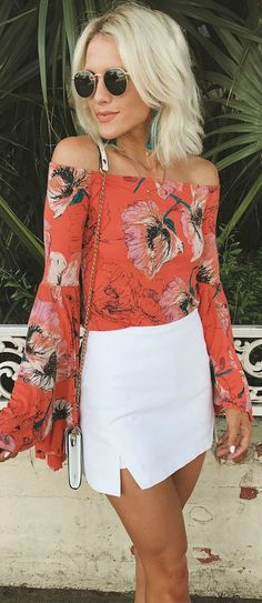 010937291a24 Free People Birds of Paradise Coral Orange Floral Print Top