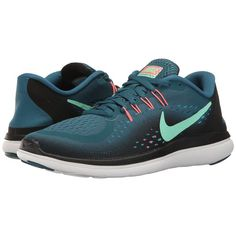 Nike Flex RN 2017 (Legion Blue/Green Glow/Black/Hot Punch) Women's... ($85) ❤ liked on Polyvore featuring shoes, athletic shoes, blue running shoes, black athletic shoes, light weight running shoes, green running shoes and lace up shoes