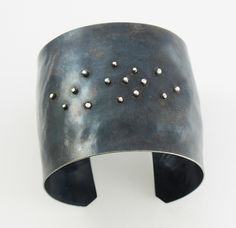 Faux Diamond Cuff by Dennis Higgins: Silver and Steel Bracelet available at www.artfulhome.com