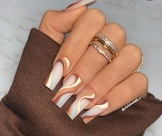 Long Square Acrylic Nails, Bling Acrylic Nails, Acrylic Nails Coffin Short, Simple Acrylic Nails, Best Acrylic Nails, Acrylic Nail Designs, Brown Nail Designs, Dope Nail Designs, Ballerina Acrylic Nails