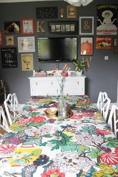 My dining room  chiang mai fabric as table cloth, dark grey walls, gallery wall with tv  Swoon Worthy