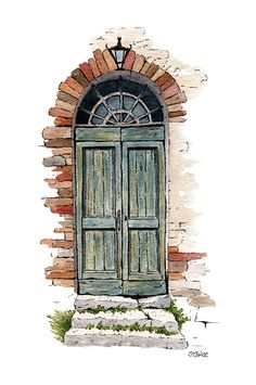 Line and wash painting of an old doorway. - The Old Door by Michael Baker Architecture Drawing Sketchbooks, Watercolor Architecture, Watercolor Landscape, Watercolor Drawing, Watercolor Illustration, Art And Architecture, Painting & Drawing, Watercolor Trees, Watercolor Animals