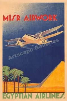 Egypt Airlines Vintage Style Travel Poster - 24x36 #Vintage