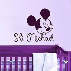 Free shipping home decoration Creative DIY cute Mickey Mouse baby Custom Kids Name baby for kids rooms wall stickers #T146 $5.89