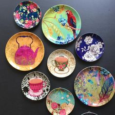 Shop India's largest collection of Decorative Plates Online. We have over 30 exclusive designs in ceramic wall plates made by master artists in different themes such as Floral, Mughal and English Spring. Painted Ceramic Plates, Ceramic Painting, Decorative Plates, Plate Wall Decor, Wall Plates, Pottery Painting Designs, Hanging Plates, Plate Art, Pottery Plates