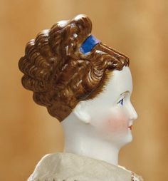 """13""""-German Bisque Lady with Rare Hair Color and Sturdy Original Body and Costume~~~sculpted hair in rare shade of brown with eight rows of horizontal rolled curls at the crown and back, feathered details at the sides of face, cobalt blue hair band,"""