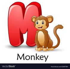 Letter m is for monkey cartoon alphabet Royalty Free Vector Abc Cartoon, Sheep Cartoon, Cartoon Letters, Cartoon Pics, Cartoon Characters, Sheep Vector, Dog Vector, Happy Birthday Animals, Animal Birthday