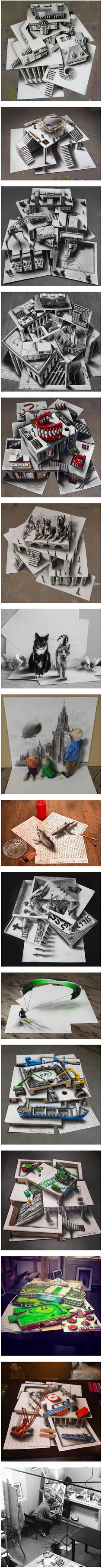 Pencil and ink sketches by Dutch artist Ramon Bruin (aka JJK Airbrush) aren't your ordinary doodles. The illustrator takes drawing to a whole other level by creating anamorphic illusions across multiple sheets of paper that are haphazardly layered atop one another. Even more impressive, Bruin manages to trick the viewer into believing they are looking at something that has great depth and is multiple stories tall.