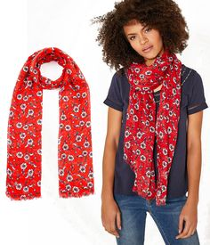 e4354061e97e Foulard Chèche pour Femme - Imprimé floral couleur Rouge - DDP