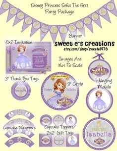 Disney Princess Sofia the First Party Package Including 5x7 Invitation.  Customized with your party details.  Printable Digital Files.