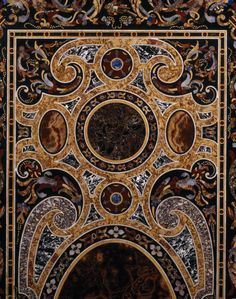 Detail of a pietra dura table-top at Charlecote Park, Warwickshire