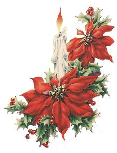 Christmas candle with holly berries and poinsettia flowers Old Time Christmas, Christmas Candle, Christmas Scenes, Noel Christmas, Vintage Christmas Cards, Christmas Pictures, Christmas Greetings, Christmas Crafts, Christmas Decorations