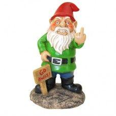 Go Away Gnome Funny Garden Gnome. Checkout the great gnomes at goofbag.com!
