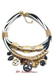 Collares de cuero - Cuero en Blanco y Negro #collares #moda #mujer