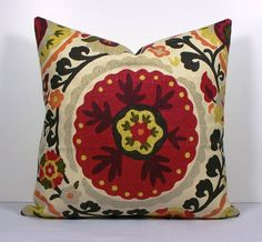 Decorative Suzani Pillow Cover Richloom designer throw pillow- red - orange - yellow - gray - green - taupe - natural. $45.00, via Etsy.