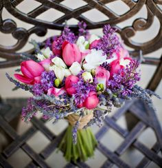 tulips, freesia, and lavender