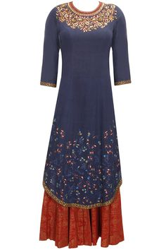 Navy blue zari and sequins floral embroidered kurta set available only at Pernia's Pop-Up Shop.