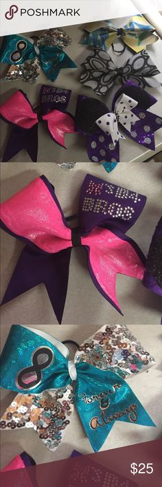 Cheer bows 1-teal & silver forever & always sequence bow(maybe worn 1x), 1-pink & purple bows before bros bow(worn a few times),1- purple & white Mickey Mouse bow(never worn),1-black & silver swirl bow, & 1-green blue, yellow tie dye bow! My daughter does competition & has so many bows that we are down sizing & these she has out grown! Accessories Hair Accessories