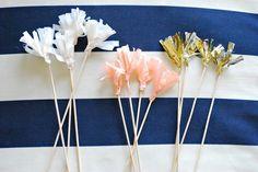 Tissue Tassel Party Picks-Peach/Gold/Cream-set of 12