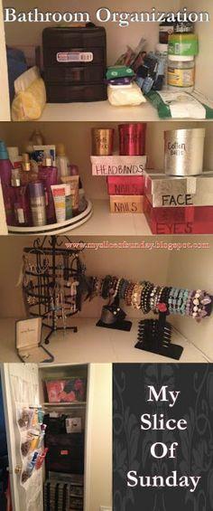 Small Apartment Small Bathroom Closet Organization Tips & Tricks *My Slice of Sunday
