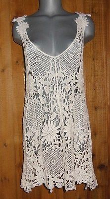 Pretty Angel Tunic Dress Shirtcover Up Crocheted Cream s M L XL Sexy Vintage | eBay