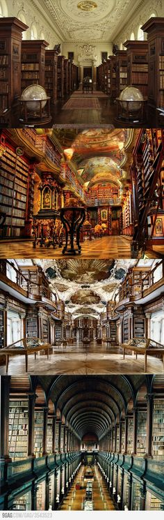 Libraries.... I have been to libraries, but not these beautiful ones!