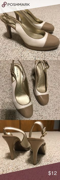 73aa77a9f2357e Tahari Heels Gently used tahari heels. They are a cream and light brown  color.
