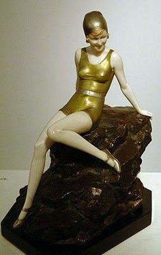 Art Déco - Statuette 'Femme sur son Rocher' - Ferdinand Preiss