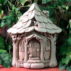 Who do you think lives in this delightful cottage? A fairy, a gnome, a troll? Something else? Handcrafted in the USA, it's made of 100% weatherproof stone with an aged stone patina.  pinned from amazon