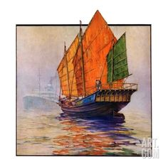 """Chinese Junk,""May 30, 1931 Giclee Print by Anton Otto Fischer at Art.com"