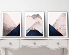 Printable Art Set of 3 Prints Print Set Mountain Navy Scandinavian Modern, Printing Services, Online Printing, Printable Art, Printables, Navy And Copper, Geometric Mountain, Bedroom Decor, Wall Decor