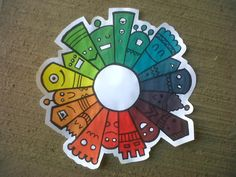 Color Wheel lesson Color theory mixing color... All they get for this is the primary colors.  Chromatic Circle for kids... :)