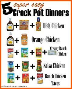Crock pot chicken dinners